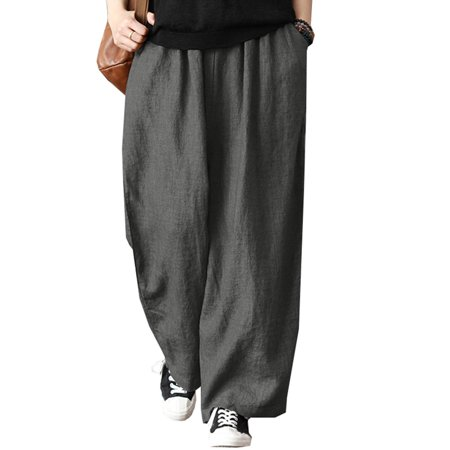 Plus Size Womens Wide Leg Casual Elastic Waist Harem Linen Pants Palazzo Trousers