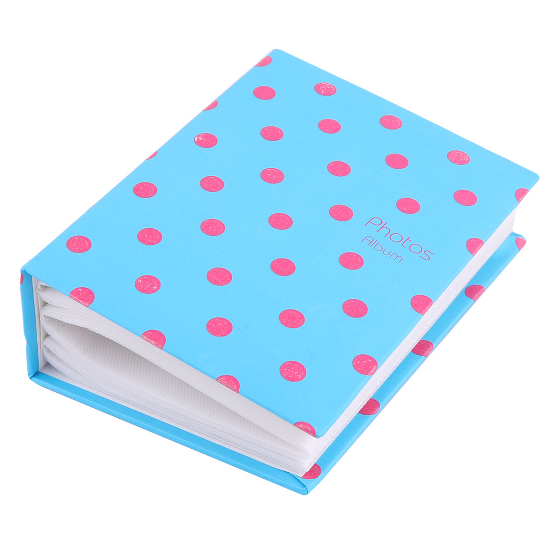 Home Cardboard Dot Print Memory Book Picture Collection Photo Album Blue Fuchsia