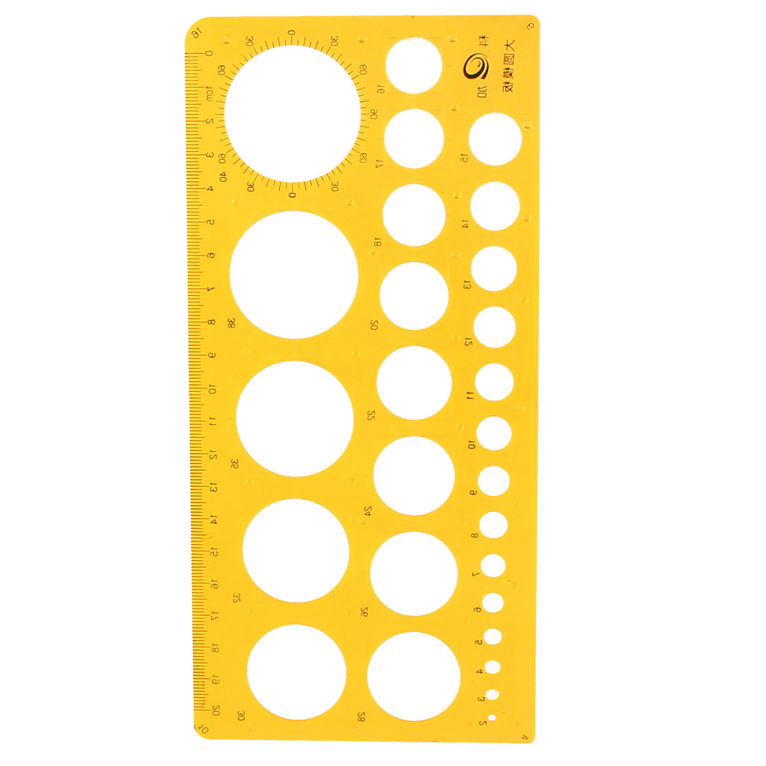 1mm-37mm Diameter Range Circles Drawing Accurate Template Ruler Clear Yellow