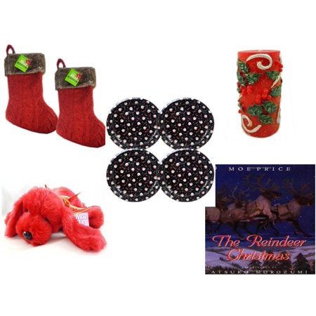 Christmas Fun Gift Bundle [5 Piece] - Be Jolly Faux Fur Red Cable Knit  Stocking 20