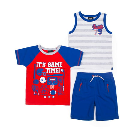 Baby Toddler Boy T-shirt, Tank Top & French Terry Shorts, 3pc Outfit Set