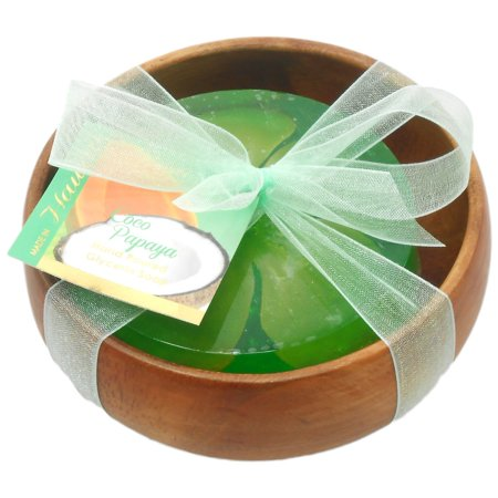 - Forever Florals Coconut Papaya Scented Glycerin Soap In Acacia Wood Bowl