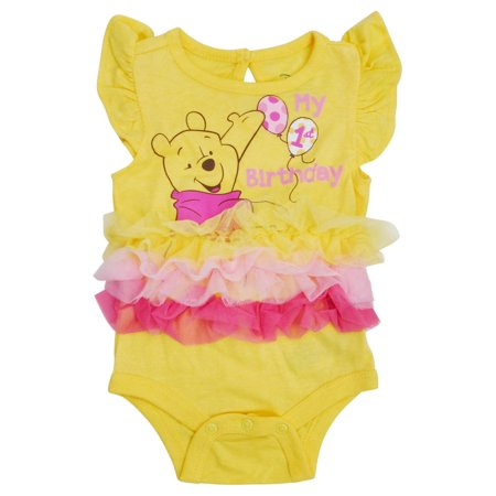 Infant Baby Girls Winnie The Pooh Tutu Bodysuit My 1st Birthday (Pooh First Birthday Girl)