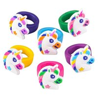 Lot of 36 Rubber Unicorn Rings Girls Birthday Party Favors Fantasy Dress Up