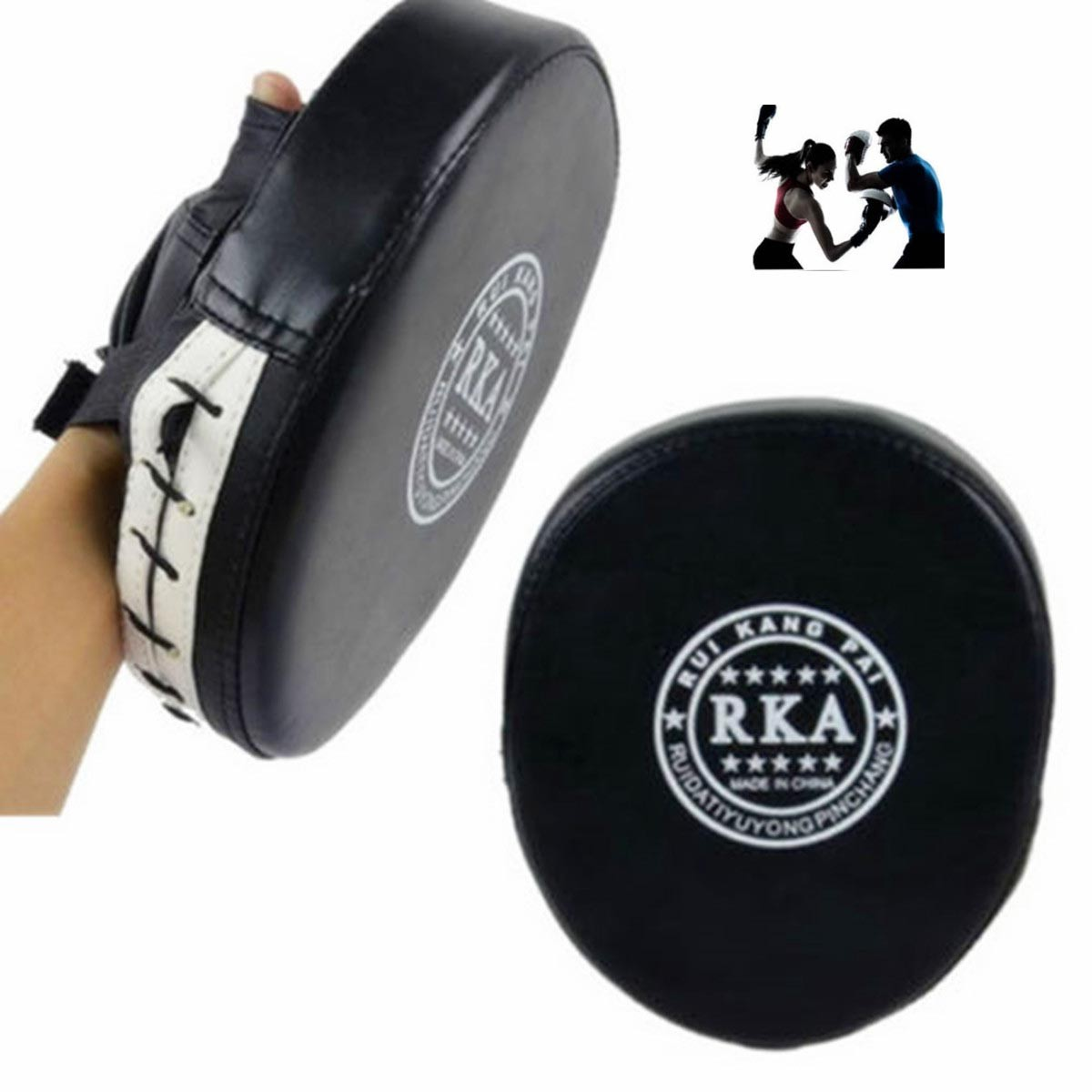 2x Thai Leather Boxing Boxing Pad Mitt Training Target Focus Kick MMA Punch Glove Pad Combat Karate Muay