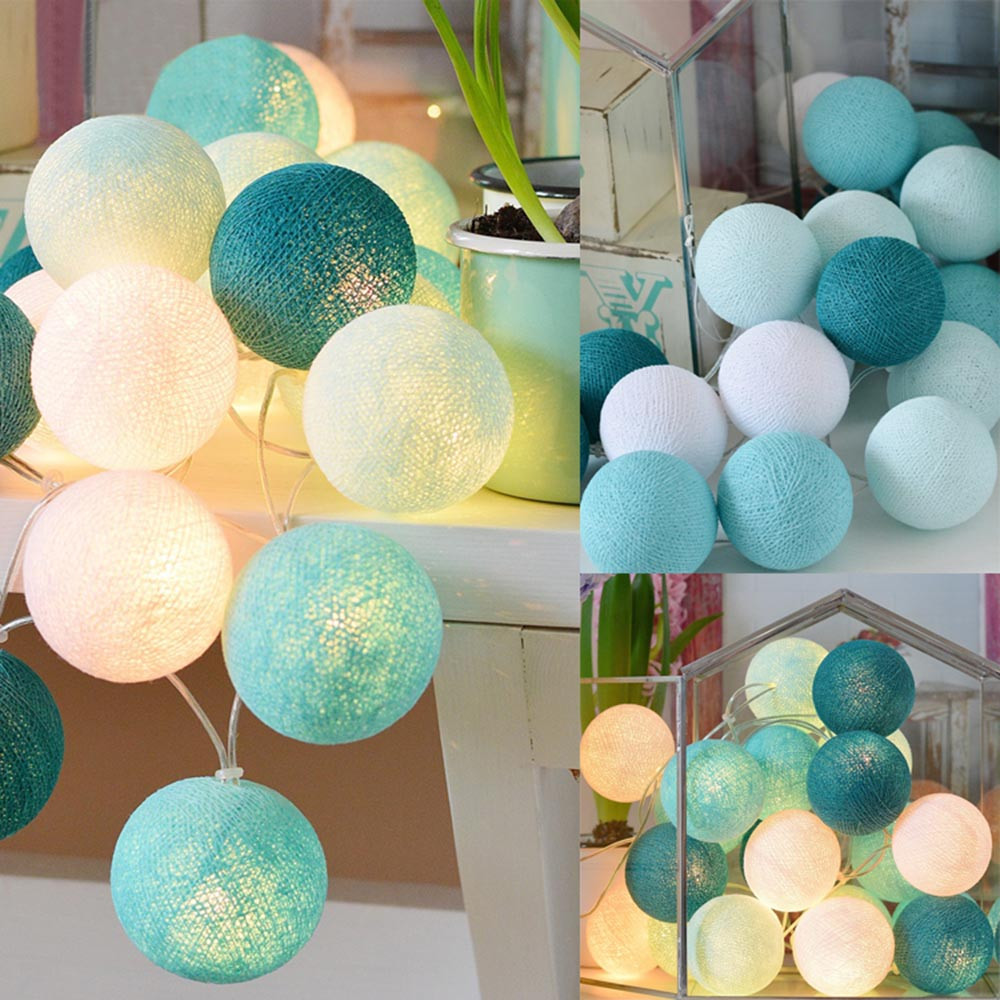 20 Cotton Ball String Lights Fairy Hanging Wedding Bedroom Living Room Patio