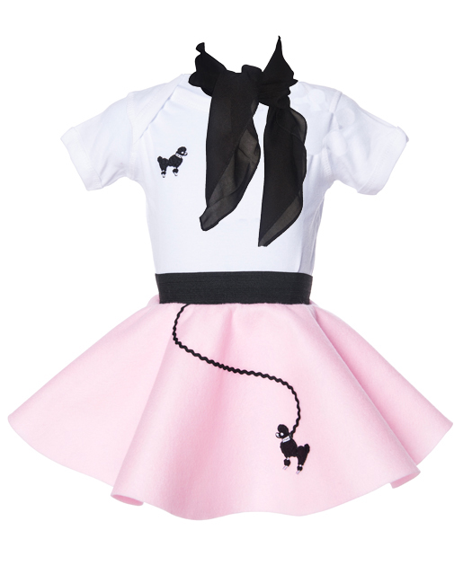 Infant 3 pc - 50's Poodle Skirt Outfit - 6 Month / Light Pink