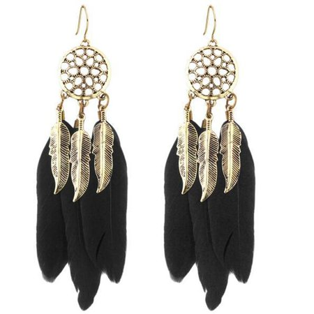 European And American Fashion Black Blue Feather Hollow Dream Catcher Earrings - image 1 of 6