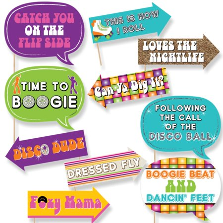 Funny 70's Disco - 1970s Disco Fever Photo Booth Props Kit - 10 (70's Disco Decorations For Parties)