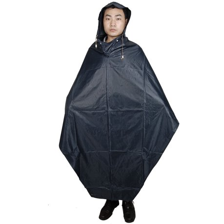Man Woman Water Resistant Bicycle Bike Rain Poncho Raincoat Dark Blue