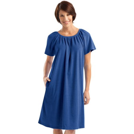 Women's Comfort Fit Short Sleeve Terry Dress, Medium, Blue - Belle Dress For Women