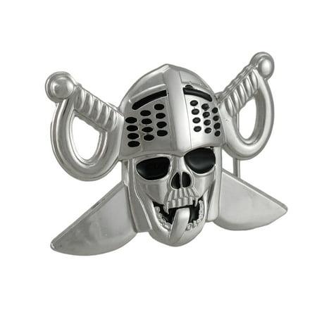 Wood Skull Belt Buckle - Lewd Knight Skull & Crossed Swords Belt Buckle
