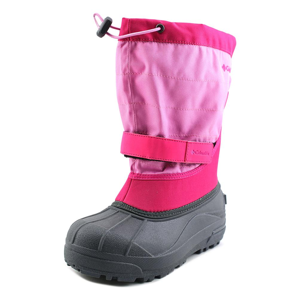 Columbia Powderbug Plus II Youth  Round Toe Canvas Pink Snow Boot