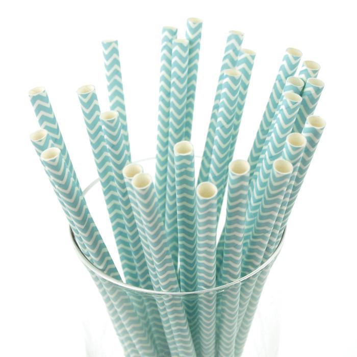 Chevron Paper Straws, 7-3/4-inch, 25-Piece, Light Blue