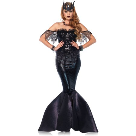 Leg Avenue Women's Dark Water Mermaid Siren Costume, Small, Black