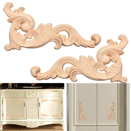 1x Wood Carved Decal Flower Corner Onlay Applique Frame Door Wall Decor 12x6cm Furniture Unpainted (New Exotic Carved Wood)