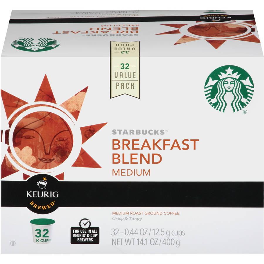 Starbucks Breakfast Blend Medium Roast Ground Coffee K-Cup Pods, .44 oz, 32 count