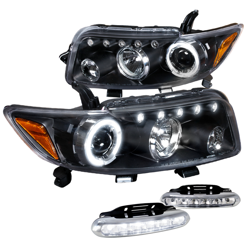 Spec-D Tuning 2008-2010 Scion Xb Halo Projector Black Headlights + Led Driving Fog Lamps (Left + Right) 08 09 10