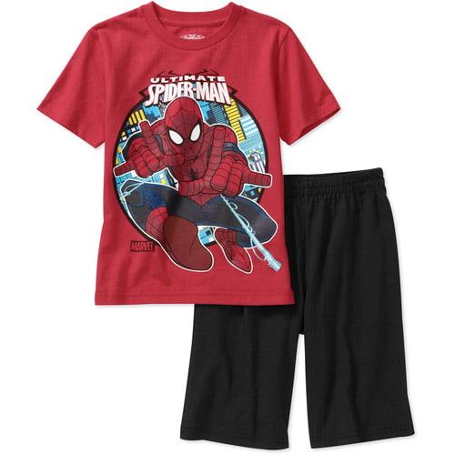 Marvel Spiderman Little Boys' 2-Piece Short Sleeve Graphic Tee and Short Set