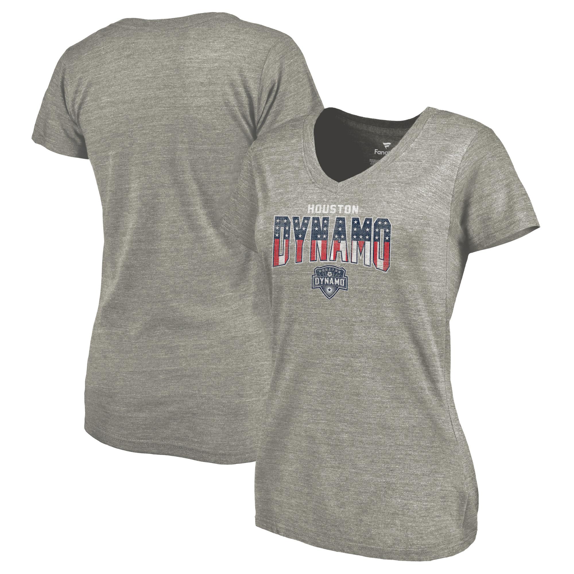 Houston Dynamo Fanatics Branded Women's Freedom Tri-Blend V-Neck T-Shirt - Heathered Gray