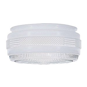 Satco Outside White Drum Glass Shade With Clear Sides And Bottom Diameter 8-3/8in Fitter 7-7/8in Ht 4in