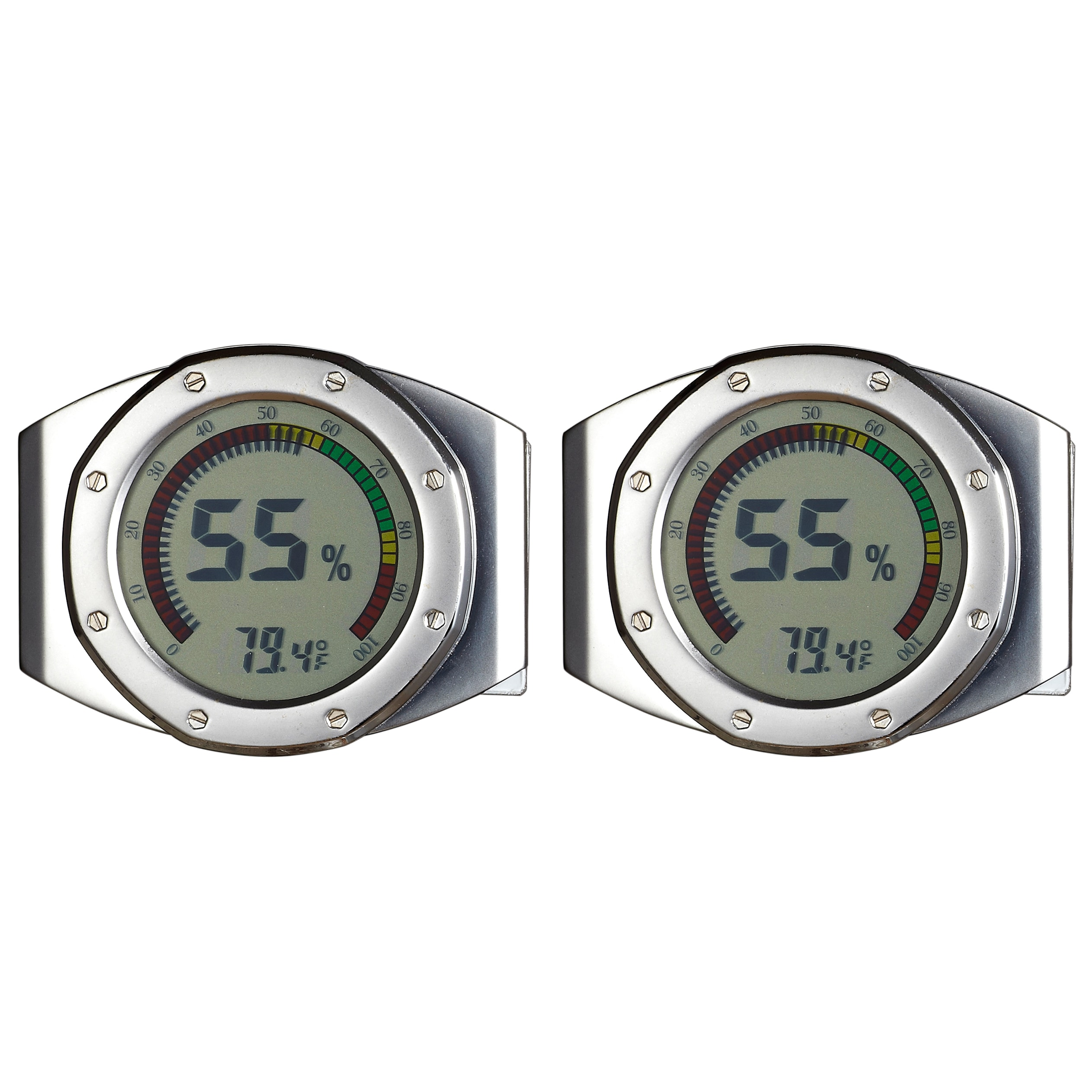 Visol Pack of Two (2)  UltraModern Circular Digital Hygrometers