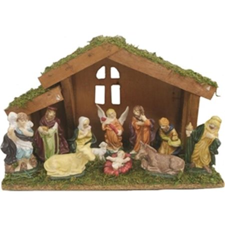 Santas Forest Inc 63005 Decor Nativity Set With Stable, 11 Pieces