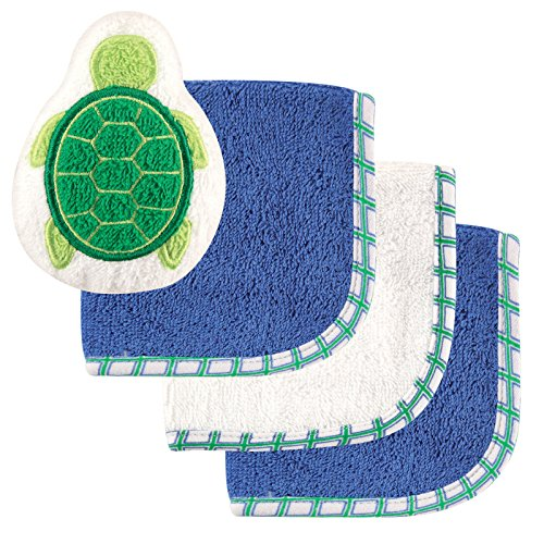Luvable Friends 3 Pack Washcloths with Bonus Toy, Turtle by Luvable Friends