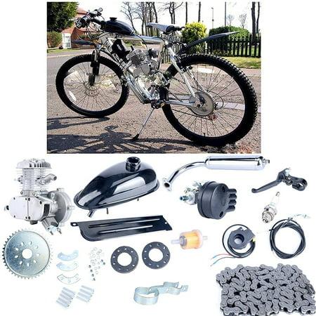 """Zimtown Upgraded 24""""-26"""" 80cc Bike Bicycle Motorized 2 Stroke Cycle Motor Engine Kit Set  Silver"""