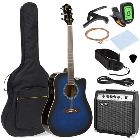 Best Choice Products 41in Full Size All-Wood Acoustic Electric Cutaway Guitar Musical Instrument Set w/ 10-Watt Amplifier, Capo, E-Tuner, Gig Bag, Strap, Picks, Extra Strings, Cloth - Blue ()