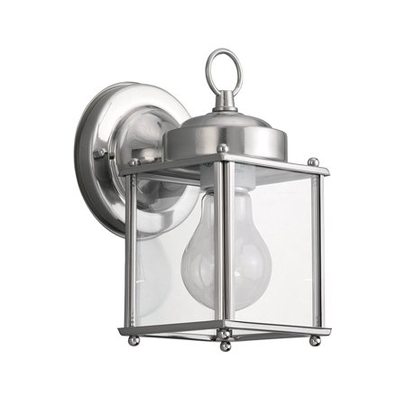 Antique Brushed Nickel Glass (8592-965 New Castle One-Light Outdoor Wall Lantern with Clear Glass Panels, Antique Brushed Nickel Finish, 1-Medium A-line 100-Watt maximum bulb(s);.., By Sea Gull Lighting From)
