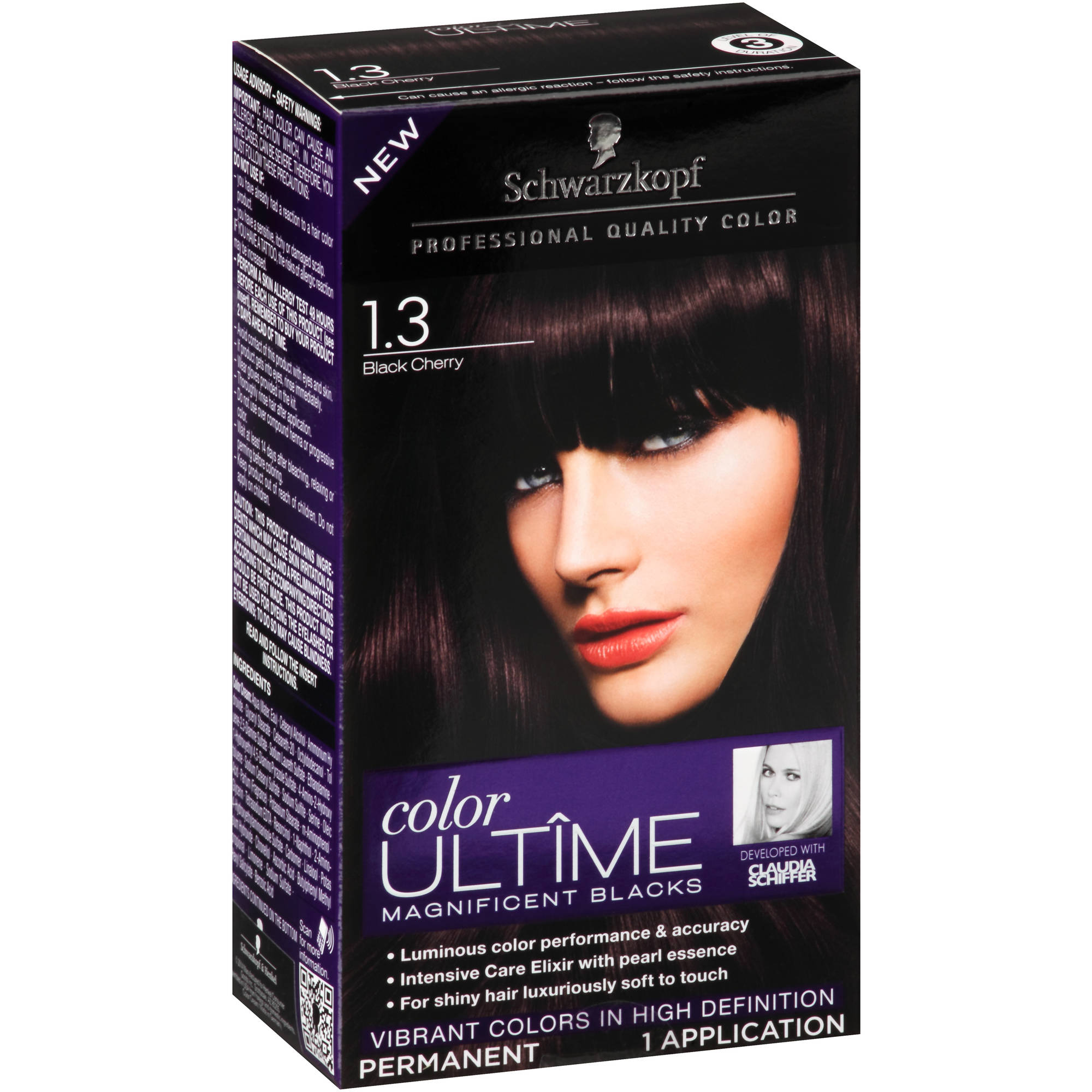 Schwarzkopf Color Ultime Magnificent Blacks Hair Coloring Kit, 1.3 Black Cherry
