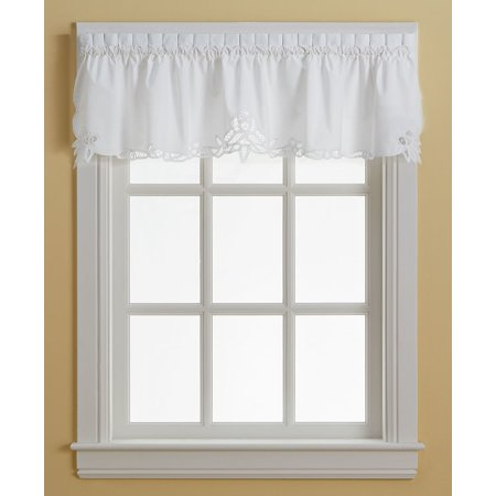 Battenburg white lace kitchen curtain valance (Lace Door Curtains)