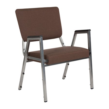 Offex Brown Antimicrobial Fabric Bariatric Stackable Arm Chair with 3/4 Panel Back and Silver Vein