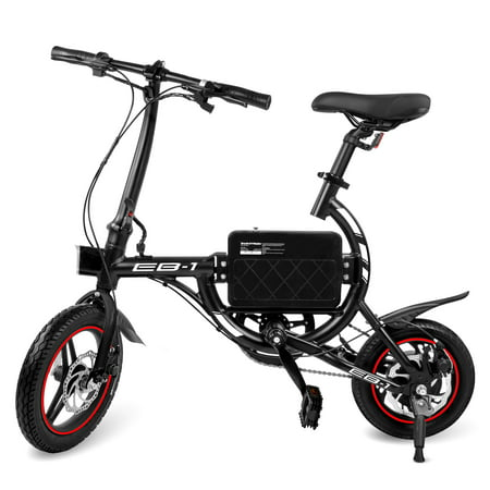 SWAGTRON EB-1 Classic Lightweight Aluminum Folding eBike with High-Torque 250W Motor and Dual Disc Brakes; Electric Bike with Pedal-Assist and Swappable Bike Seats ()