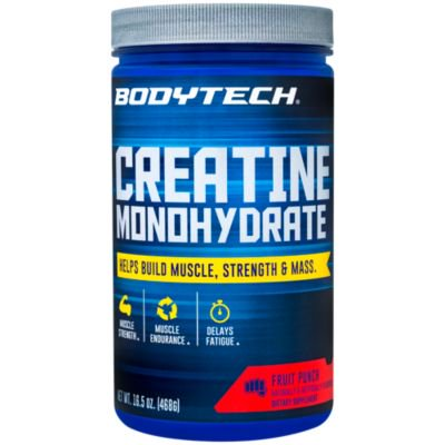 BodyTech 100 Pure Creatine Monohydrate 5GM, Fruit Punch  Improve Muscle Performance, Strength  Mass (16.5 Ounce