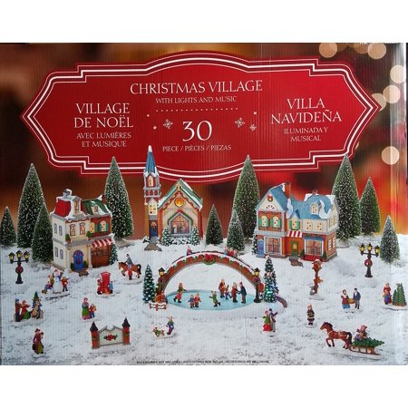 30-Piece Christmas Village with Lighted Ice Rink and Music ()