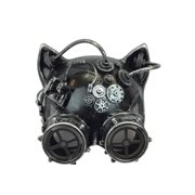 KBW Adult Unisex Steampunk Silver Cat Ear Helmet Mask with Goggles, Vintage Victorian Style Retro Punk Rustic Gothic Motorcycle Pilot Aviator Eyewear Headgear Costume Accessories Novelty Costume Acces