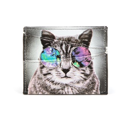 Concept One Gray Cat with Lennon Space Glasses ID Card Holder (Cat Space Glasses)