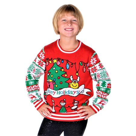 Girls Ugly Sweater (SoCal Look Girls Ugly Christmas Sweater Happy Holidays Pullover)