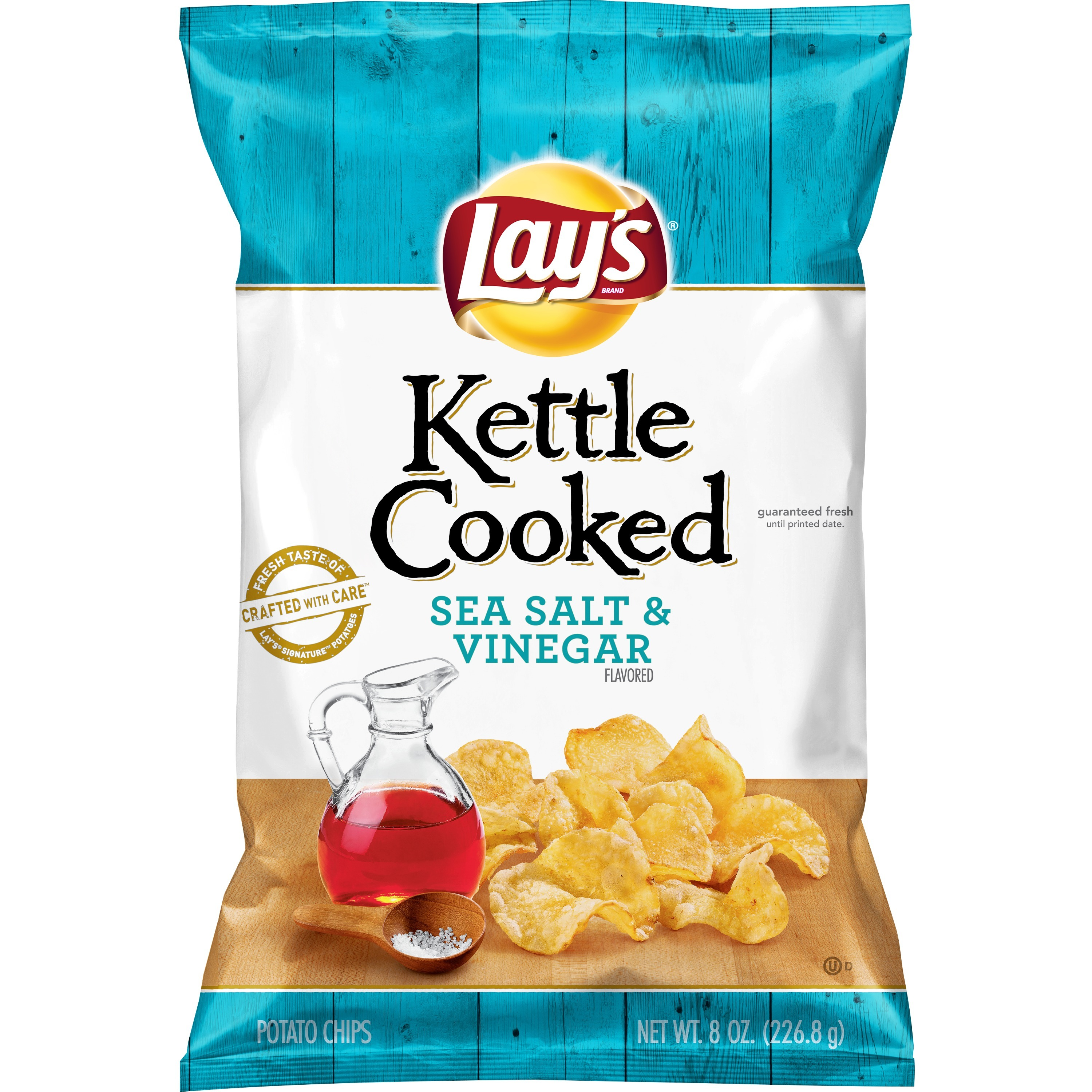 Lay's Kettle Cooked Potato Chips, Sea Salt and Vinegar, 8 oz Bag