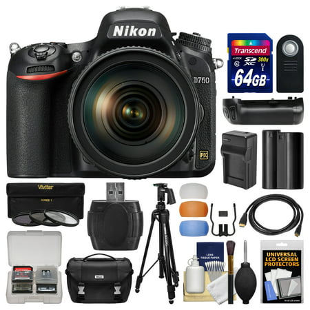 Nikon D750 Digital SLR Camera & 24-120mm f/4 VR Lens with 64GB Card + Case + Battery & Charger + Grip + Tripod + Filters +