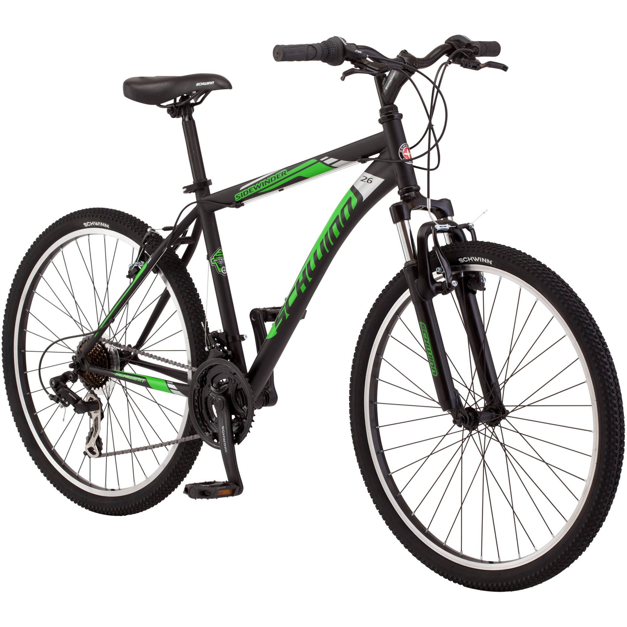 "26"" Schwinn Sidewinder Mens Mountain Bike, Matte Black/Green"