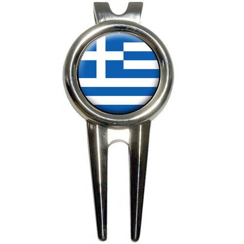 Greece Greek Flag Golf Divot Repair Tool and Ball Marker