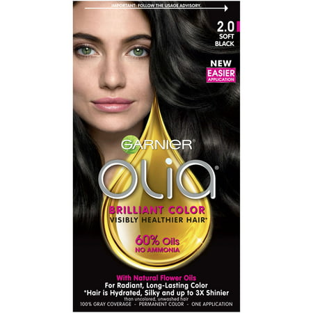 Garnier Olia Oil Powered Permanent Hair Color, 2.0 Soft (Garnier Olia Permanent Hair Colour 7-0 Dark Blonde)