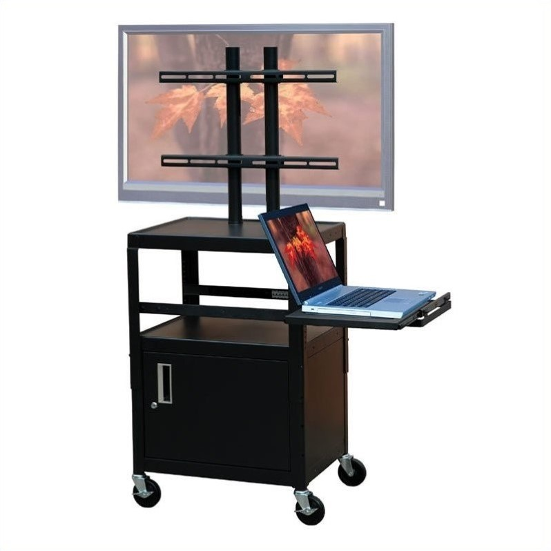 """VTI Adjustable Cabinet Cart for up to 32"""" Flat Panel TV w/ Pull Out Shelf"""