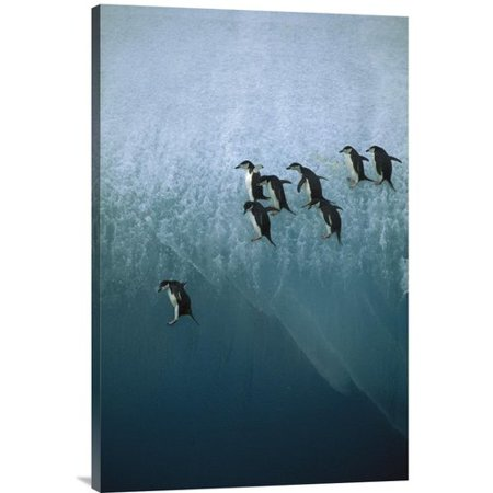East Urban Home Chinstrap Penguins Group Jumping Off Blue Iceberg Into Water Below Photographic Print On Canvas