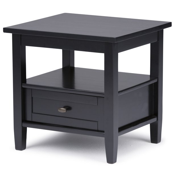 Brooklyn + Max Lexington Solid Wood 20 inch Wide Rectangle Rustic End Side Table in Black