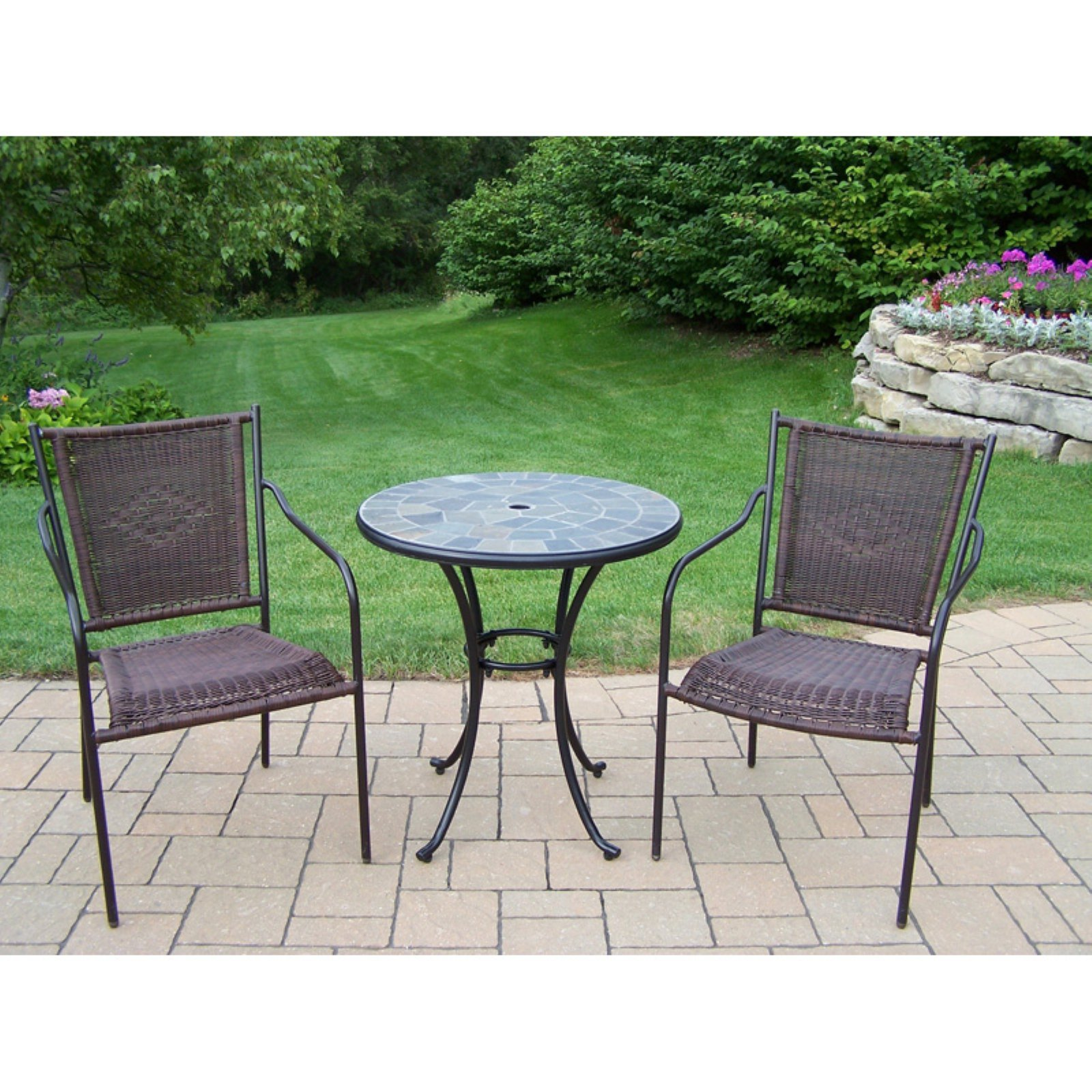 Oakland Living Stone Art Wicker Patio Bistro Set