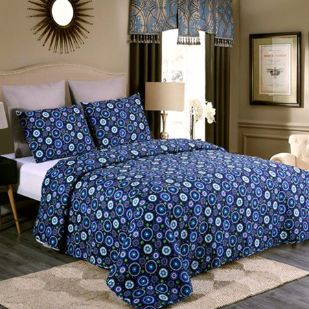 3 Piece Printed Lightweight Bedding Quilt Set- Quilt And 2 Shams, Soft & Lightweight King